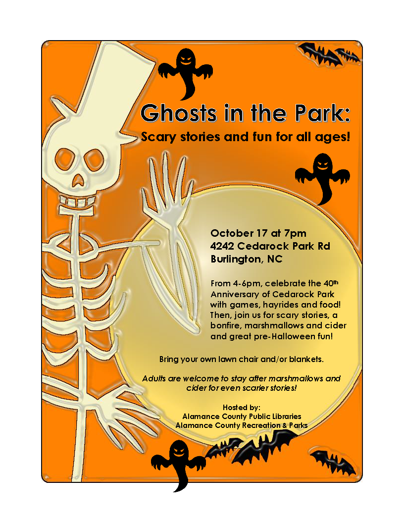 archives the university of north carolina at story squad will be sharing ghostly tales starting at 7 00pm in cedarock park in burlington we ll tell slightly scary tales from about 7 00 7 45pm
